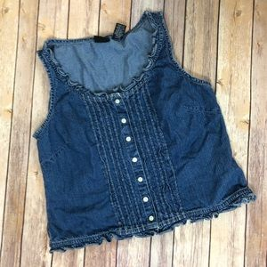 New York & Co Jeans Blue Denim Tank Top Prairie